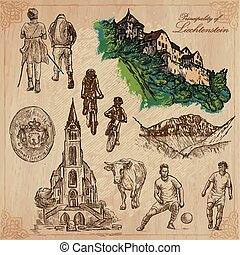 Travel, LIECHTENSTEIN. Collection of an hand drawn vector illustrations. Sketching. Background is isolated. Easy Editable. This series with focus on: Vacations, Hobbies, Sport and Architecture.