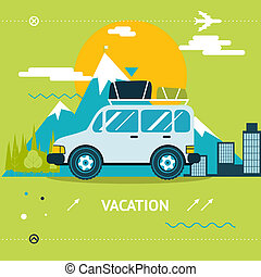 Travel Lifestyle Concept of Planning a Summer Vacation Tourism and Journey Symbol Car Forest City Modern Flat Design Icon Template Vector Illustration