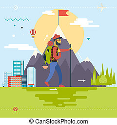 Travel Lifestyle Concept of Planning a Summer Vacation Tourism and Journey Symbol Man Geek Hipster Rock Climber Forest City Modern Flat Design Icon Template Vector Illustration