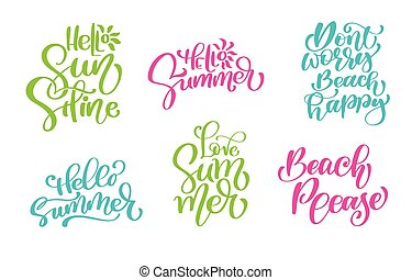 Vector set of hand lettering with summer motivational ...