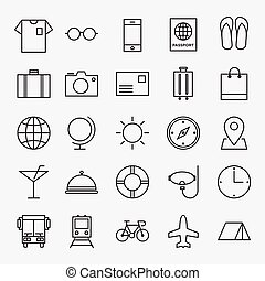 Travel line icon isolated vector illustration