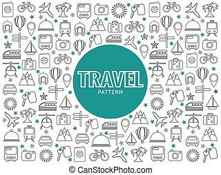 Travel Line Icons Pattern