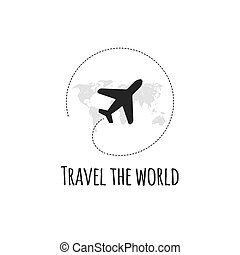 Travel logo. Vector illustration. Black airplane.