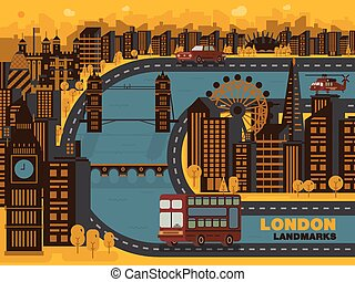 Travel London (England) city,vector background. Flat trendy illustration