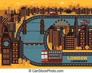 Travel London (England) city,vector background. Flat trendy illustration