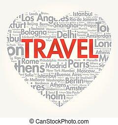 TRAVEL love heart word cloud