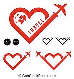 travel love in heart icon set illustration