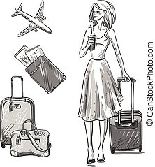 Girl walking with a luggage bag.