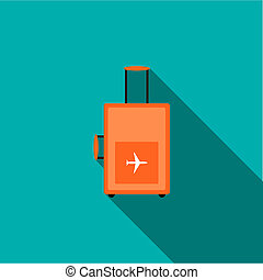 Travel luggage icon, flat style