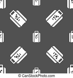 travel luggage suitcase icon sign. Seamless pattern on a gray background. Vector