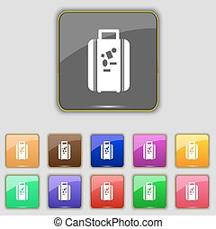 travel luggage suitcase icon sign. Set with eleven colored...