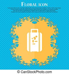 travel luggage suitcase icon sign. Floral flat design on a...