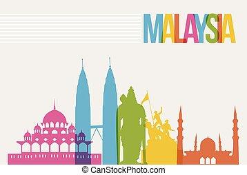 Travel Malaysia destination landmarks skyline background