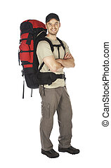 confident young caucasian traveller isolated on white