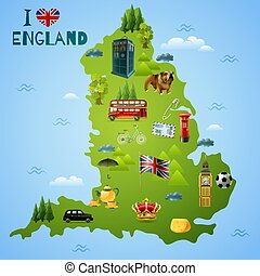 Travel Map For England Illustration