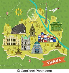 Travel map of Vienna, Austria with landmarks. Plague or...