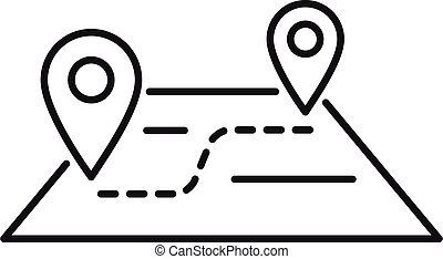 Travel map relocation icon, outline style - Travel map ...