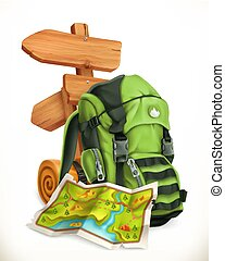 Travel. Map, tourist backpack and road sign. 3d vector icon