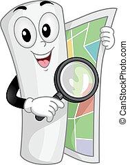 Travel Mascot Map Search Illustration