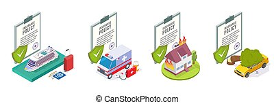 Travel, medical, home, car insurance services, vector illustration
