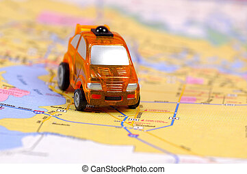 Travel - Miniature Car on a Street Map