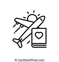 Travel - modern vector single line icon