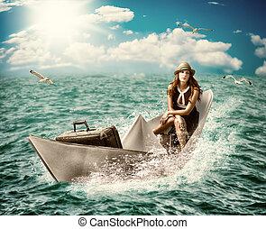 travel., mujer, con, equipaje, en, barco