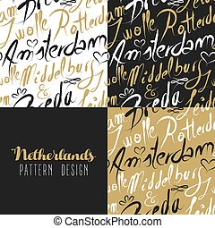 Travel netherlands europe gold seamless pattern