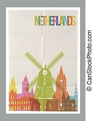 Travel Netherlands landmarks vintage paper poster - Travel...