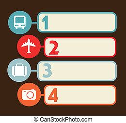 travel numbers labels over brown background. vector