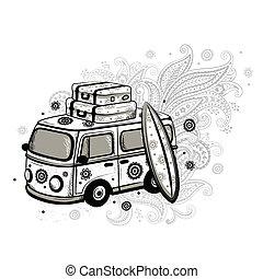 Travel old fashion car