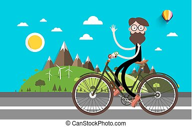 Travel on Bike. Man on Bicycle. Nature Landscape Vector Flat Design Illustration.