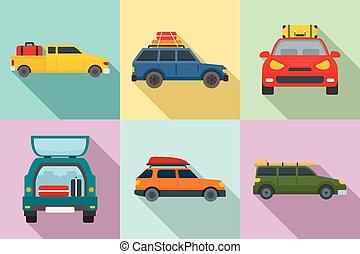 Travel on car icons set, flat style