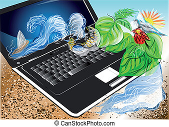 travel on line. abstract summer background with laptop