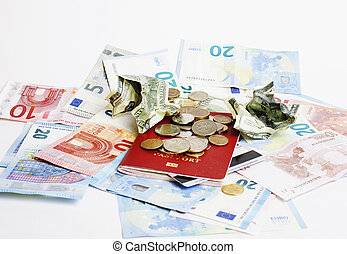 Travel on vacation lifestyle concept: cash money on table