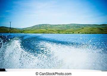 Travel on water in the boat