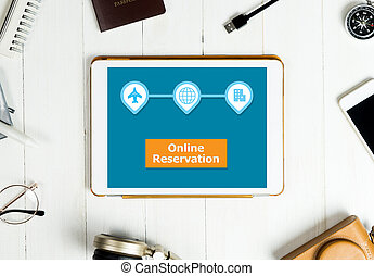 Travel online reservation banner on tablet screen