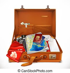 Travel. Open Suitcase. 3d vector icon