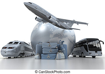 Travel options - A flying plane, the Earth, a coach bus, a ...