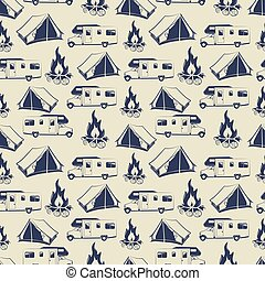 Travel or camping seamless pattern