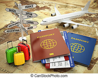 Travel or tourism concept. Passport, airplane, airtickets,...