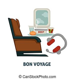 Travel or trip voyage vector icon of airplane seat, meals and traveler earphones