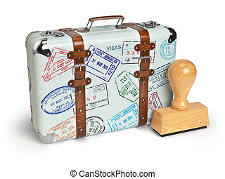 Travel or turism concept. Old suitcase with visa stamps...