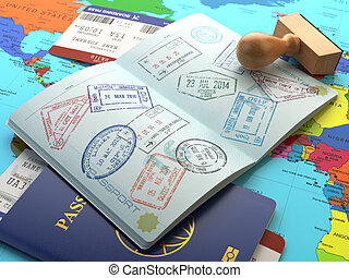 Travel or turism concept. Opened passport with visa stamps...