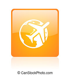 travel orange square web glossy icon