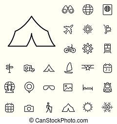 travel outline, thin, flat, digital icon set