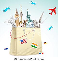 Travel package - illustration of shopping bag full of famous...