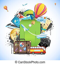Travel Package - illustration of travelling element like bus...