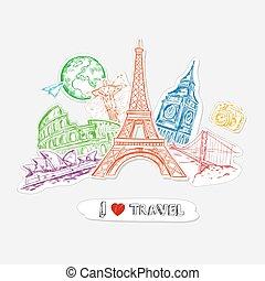 Travel Paper Stickers Set