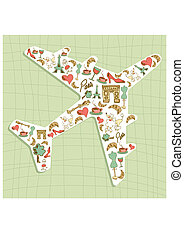 Travel Paris icon set airplane